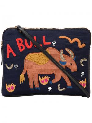 Safari embroidered clutch Lizzie Fortunato Jewels. Цвет: синий