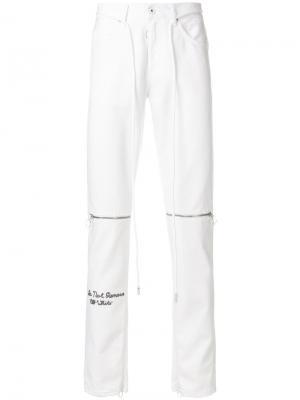 Укороченные джинсы с вышивкой Off-White. Цвет: белый
