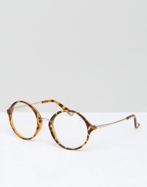 Jeepers Peepers Круглые черепаховые очки с прозрачными стеклами. Цвет: коричневый