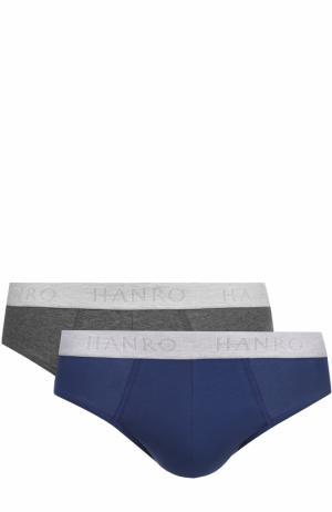 Комплект из двух хлопковых брифов с широкой резинкой Hanro. Цвет: синий