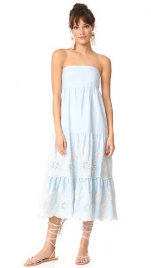 Голубое платье без бретелек Gypset с бантом Athena Procopiou. Цвет: светло-синяя вышивка