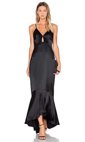 Атласное вечернее платье с подкладкой JILL STUART. Цвет: черный