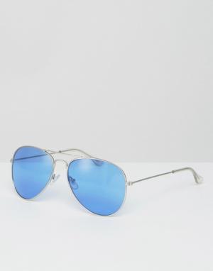 Jeepers Peepers Солнцезащитные очки-авиаторы с голубыми стеклами. Цвет: синий