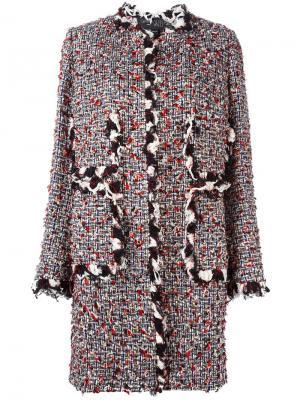 Твидовое пальто без воротника Giambattista Valli. Цвет: многоцветный