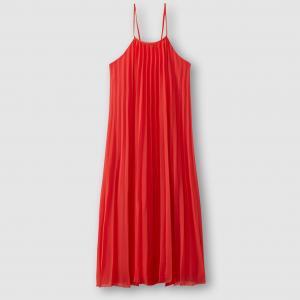 Платье из вуали со складками MOLLY BRACKEN. Цвет: коралловый
