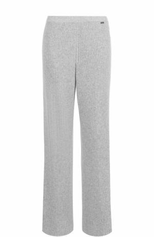 Кашемировые брюки фактурной вязки St. John. Цвет: светло-серый