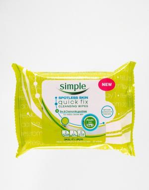 Simple Комплект из 25 очищающих салфеток Spotless Skin Quick Fix. Цвет: spotless skin