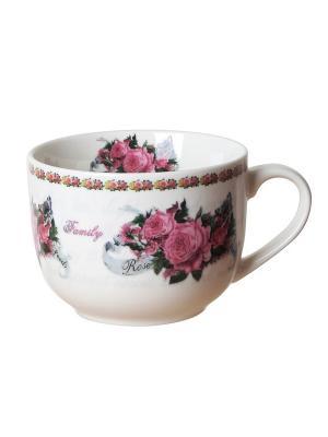 Чашка для супа GiftLand. Цвет: бежевый, розовый, зеленый