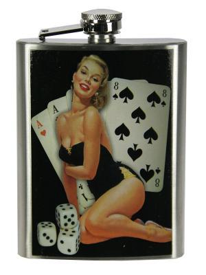 Фляжка подарочная Пин-ап 230мл Русские подарки. Цвет: черный