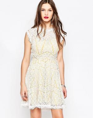 Adelyn Rae Желто-белое кружевное платье. Цвет: мульти