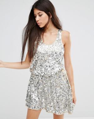 Walter Baker Платье мини с пайетками Anita. Цвет: серебряный