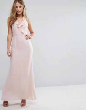 Elise Ryan Платье макси на бретельках с рюшами. Цвет: розовый