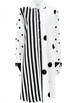 Платье-рубашка с контрастными рисунками Monse. Цвет: белый