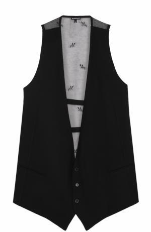Удлиненный жилет с прозрачной кружевной спинкой Ann Demeulemeester. Цвет: черный