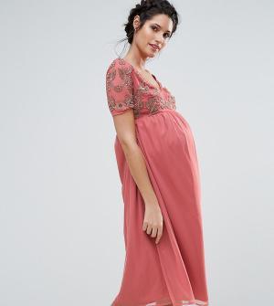 Maya Maternity Платье с V-образным вырезом и отделкой на лифе. Цвет: розовый