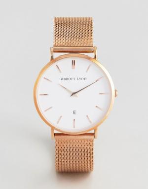 Abbott Lyon Розово-золотистые часы с сетчатым браслетом Kensington 40. Цвет: золотой