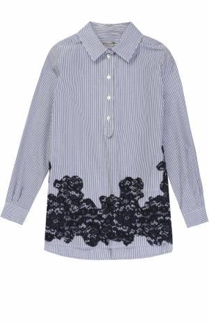 Хлопковая блуза в полоску с кружевной отделкой Ermanno Scervino. Цвет: голубой