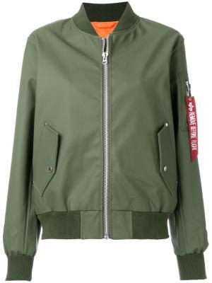 Куртка-бомбер на молнии Stutterheim. Цвет: зелёный