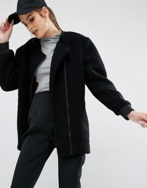 Kendall + Kylie Осеннее пальто из ткани букле. Цвет: черный