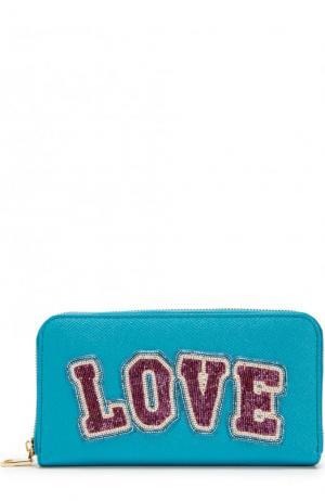 Кожаное портмоне на молнии с аппликацией из бисера Dolce & Gabbana. Цвет: бирюзовый