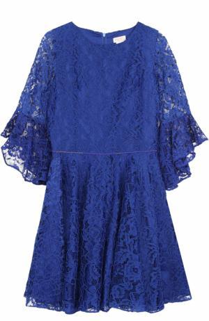 Кружевное платье с отделкой из страз David Charles. Цвет: синий