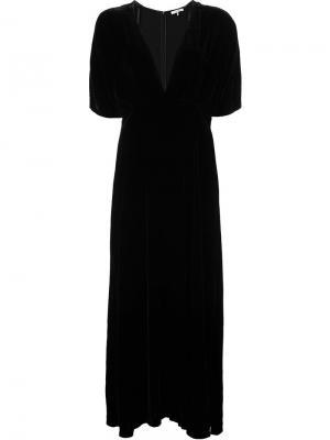 Платье с V-образным вырезом Ganni. Цвет: чёрный