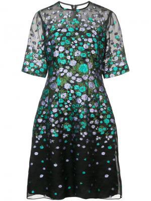Расклешенное платье с цветочным принтом Lela Rose. Цвет: чёрный