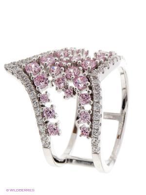 Кольцо JV ДЖЕЙ ВИ. Цвет: серебристый, розовый