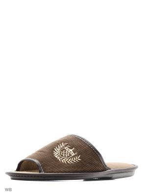 Тапочки PANTOLETTI. Цвет: зеленый, коричневый