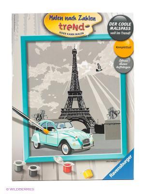 Набор для раскрашивания по номерам Париж Ravensburger. Цвет: серый, оранжевый, белый