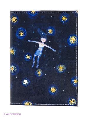 Обложка для паспорта Девочка звездной ночью Mitya Veselkov. Цвет: синий