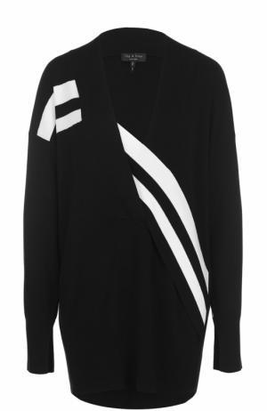 Удлиненный пуловер со спущенным рукавом и контрастной отделкой Rag&Bone. Цвет: черно-белый