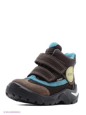 Ботинки ECCO. Цвет: коричневый, голубой, темно-коричневый