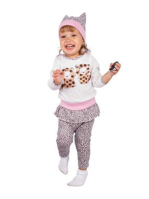 Джемпер, леггинсы, шапочка Апрель. Цвет: бежевый, розовый, белый