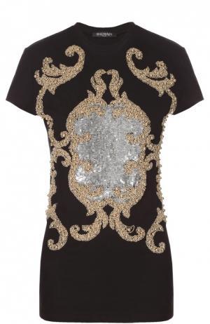 Приталенная футболка с декоративной вышивкой Balmain. Цвет: черный