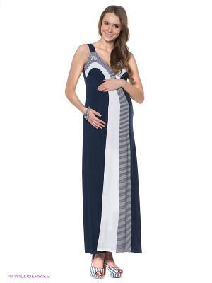 Платье MARY MEA. Цвет: темно-синий, белый