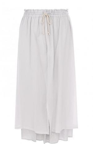 Укороченные однотонные брюки из хлопка Yohji Yamamoto. Цвет: светло-серый