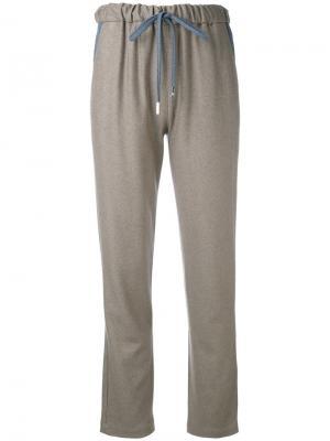 Зауженные брюки на завязках Eleventy. Цвет: телесный