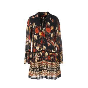Платье короткое с рисунком и длинными рукавами RENE DERHY. Цвет: черный наб. рисунок