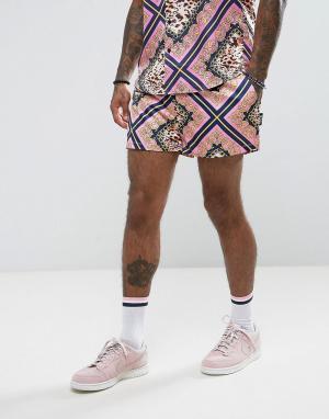 Jaded London Розовые шорты с принтом цепочки. Цвет: розовый