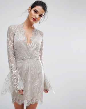 Bec & Bridge Платье с глубоким вырезом Mirror Palace. Цвет: серебряный