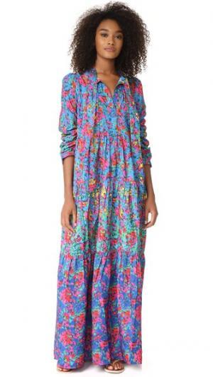 Макси-платье Bogota с цветочным рисунком цветовыми переходами Christophe Sauvat Collection. Цвет: зеленый