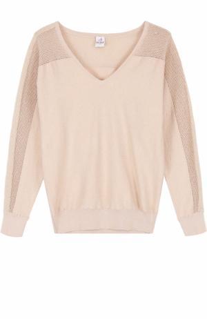 Пуловер с перфорацией и V-образным вырезом Deha. Цвет: бежевый