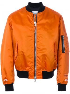 Двухцветная куртка-бомбер Heron Preston. Цвет: жёлтый и оранжевый