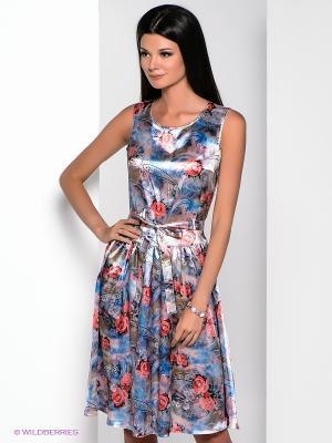 Платье Yulia Dushina. Цвет: голубой, коралловый, хаки