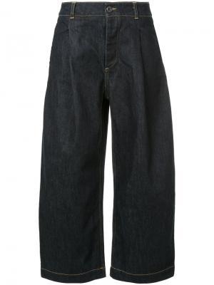 Укороченные широкие джинсы Studio Nicholson. Цвет: синий