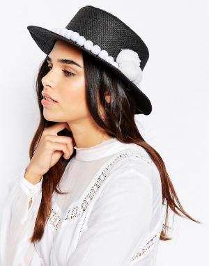 7X Соломенная шляпа с помпонами. Цвет: черный
