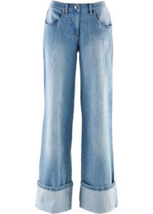 Широкие джинсы-стретч (голубой выбеленный) bonprix. Цвет: голубой выбеленный