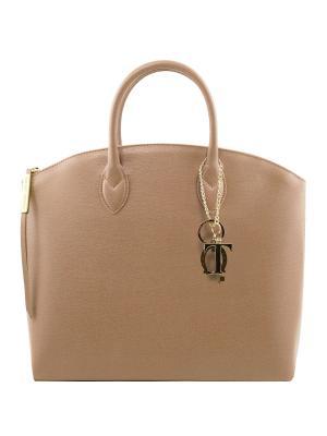 Сумка-тоут из кожи Саффьяно большого размера Tuscany Leather. Цвет: персиковый