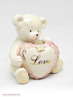 Солонка Медвежонок с сердечком Pavone. Цвет: белый